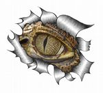Ripped Torn Metal Design With Evil Crocodile Eye Motif External Vinyl Car Sticker 105x130mm